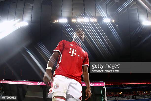 David Alaba of Muenchen enters the field of play for the Bundesliga match between Bayern Muenchen and Borussia Moenchengladbach at Allianz Arena on...