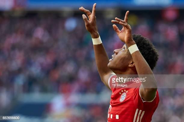 David Alaba of Muenchen gestures during the Bundesliga match between Bayern Muenchen and Eintracht Frankfurt at Allianz Arena on March 11 2017 in...