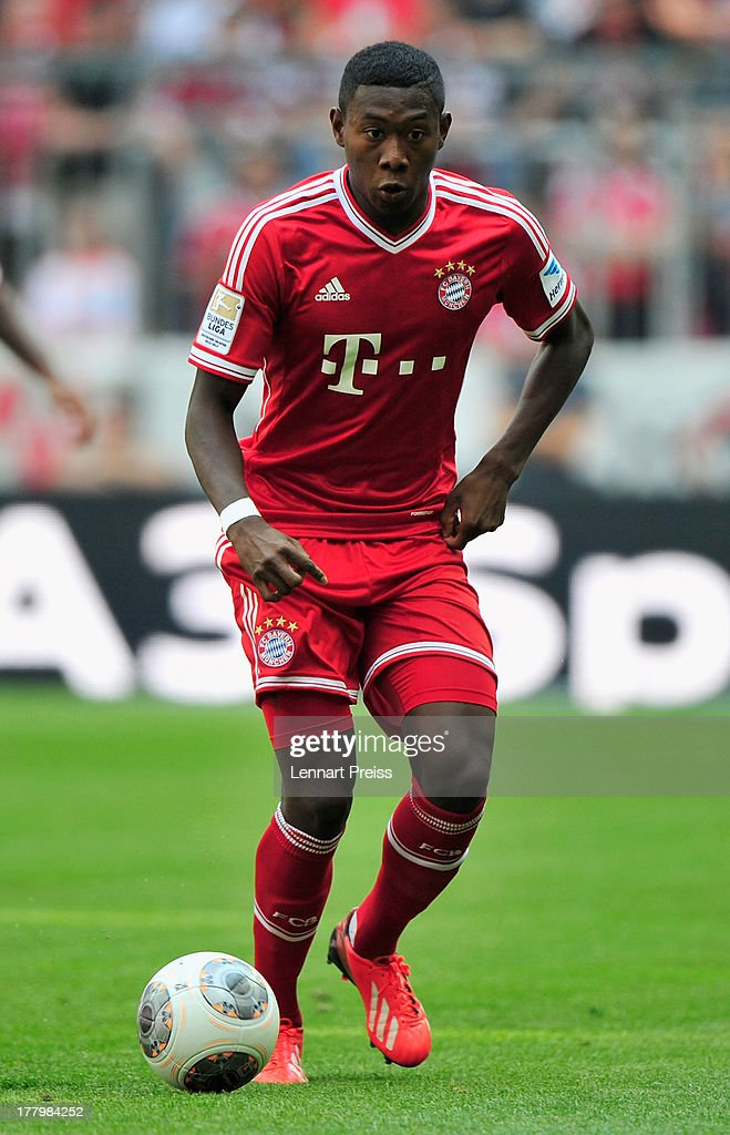 David Alaba of Muenchen in action during the Bundesliga match between FC Bayern Muenchen and 1. FC Nuernberg at Allianz Arena on August 24, 2013 in Munich, Germany.