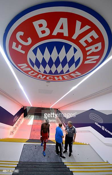 David Alaba of Muenchen is seen after winning the Bundesliga match between FC Bayern Muenchen and Hamburger SV at Allianz Arena on August 14 2015 in...