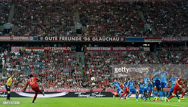 David Alaba of Muenchen kicks a free kick during the Bundesliga match between FC Bayern Muenchen and Hamburger SV at Allianz Arena on August 14 2015...