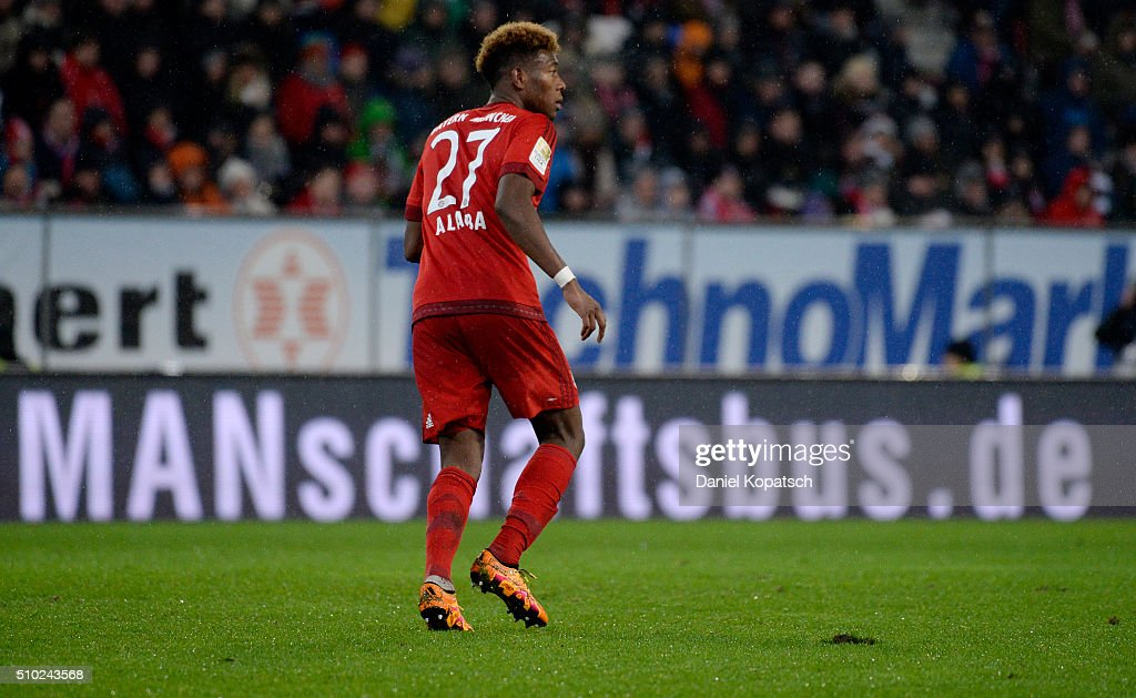 <a gi-track='captionPersonalityLinkClicked' href=/galleries/search?phrase=David+Alaba&family=editorial&specificpeople=5494608 ng-click='$event.stopPropagation()'>David Alaba</a> of Muenchen reacts during the Bundesliga match between FC Ausgburg and FC Bayern Muenchen at SGL Arena on February 14, 2016 in Augsburg, Germany.