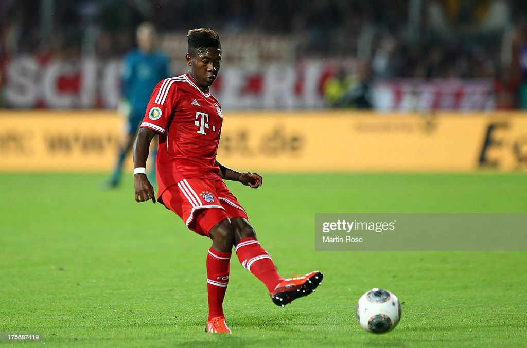 <a gi-track='captionPersonalityLinkClicked' href=/galleries/search?phrase=David+Alaba&family=editorial&specificpeople=5494608 ng-click='$event.stopPropagation()'>David Alaba</a> of Muenchen runs with the ball during the DFB Cup first round match between BSV SW Rehden and Bayern Muenchen at osnatel Arena on August 5, 2013 in Osnabrueck, Germany.