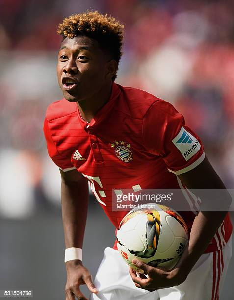 David Alaba of Muenchen seen during the Bundesliga match between FC Bayern Muenchen and Hannover 96 at Allianz Arena on May 14 2016 in Munich Germany