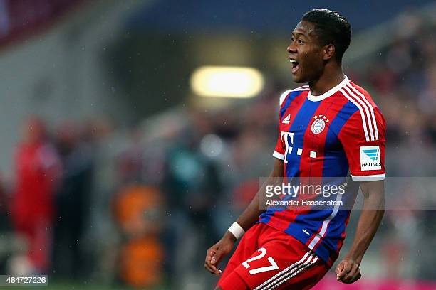 David Alaba of Muenchen smiles during the Bundesliga match between FC Bayern Muenchen and 1 FC Koeln at Allianz Arena on February 27 2015 in Munich...