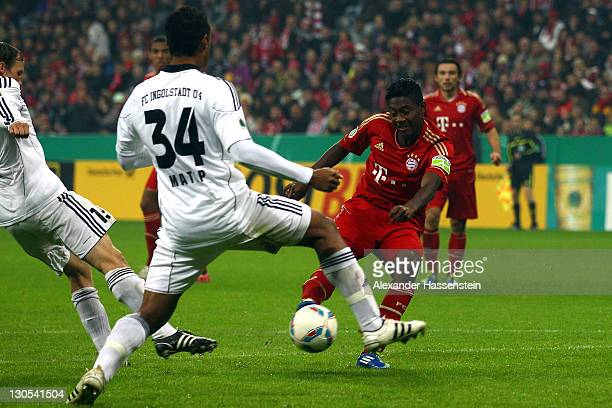 David Alaba of Muenchenscores the second team goal during the DFB Cup second round match between FC Bayern Muenchen and FC Ingolstadt at Allianz...