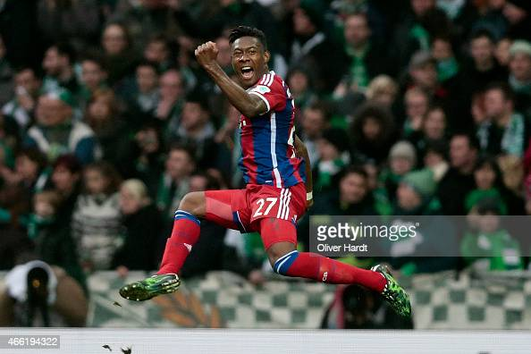 David Alaba of Munich celebrates after scoring their first goal during the First Bundesliga match between SV Werder Bremen and FC Bayern Muenchen at...