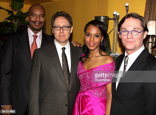 David Alan Grier James Spader Kerry Washington and Richard Thomas pose at the opening night after party for 'Race' at the Redeye Grill on December 6...