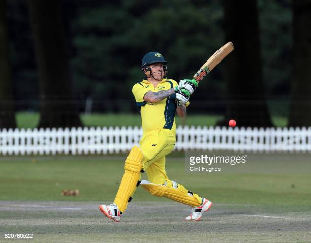 David Alford of Australia bats during the T20 INAS TriSeries against South Africa at Toft Cricket Club on July 18 2017 in Knutsford England