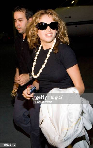 David Alvarado and Paulina Rubio during Paulina Rubio Arrives in Miami After Her American Tour May 30 2005 at Opalocka Airport in Miami Florida...