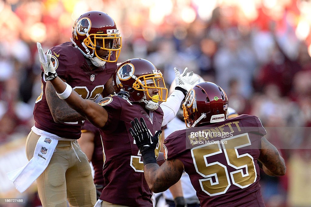 <a gi-track='captionPersonalityLinkClicked' href=/galleries/search?phrase=David+Amerson&family=editorial&specificpeople=7244765 ng-click='$event.stopPropagation()'>David Amerson</a> #39 of the Washington Redskins celebrates after intercepting a pass from Philip Rivers #17 of the San Diego Chargers (not pictured) in the fourth quarter during an NFL game at FedExField on November 3, 2013 in Landover, Maryland.
