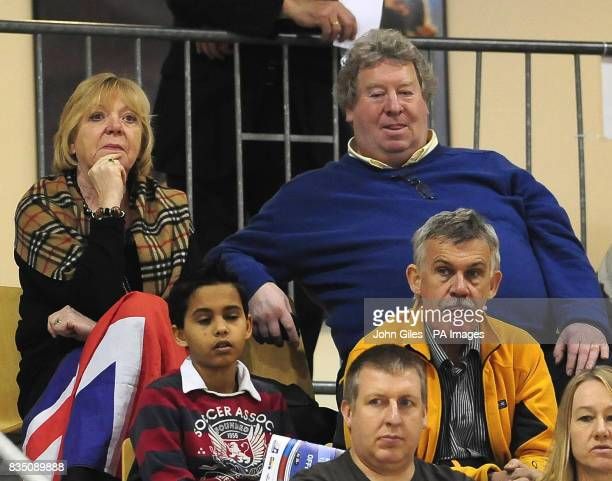 David and Carol Hoy the parents of GB cyclist Chris Hoy watch the racing at the Ballerup Super Arena Copenhagen