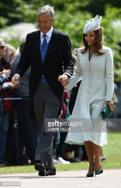 David and Jane Matthews parents of the groom attend the wedding of Pippa Middleton and their son James Matthews at St Mark's Church in Englefield...