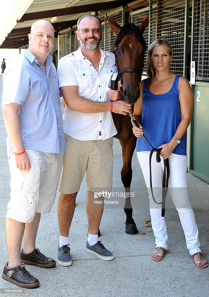 David and Luke Henderson (L) pose for a photo with <a gi-track='captionPersonalityLinkClicked' href=/galleries/search?phrase=Zara+Phillips&family=editorial&specificpeople=161323 ng-click='$event.stopPropagation()'>Zara Phillips</a> at the Magic Millions Sales Complex on January 9, 2013 on the Gold Coast, Australia. <a gi-track='captionPersonalityLinkClicked' href=/galleries/search?phrase=Zara+Phillips&family=editorial&specificpeople=161323 ng-click='$event.stopPropagation()'>Zara Phillips</a> is the ambassador for the 2013 Magic Millions carnival.