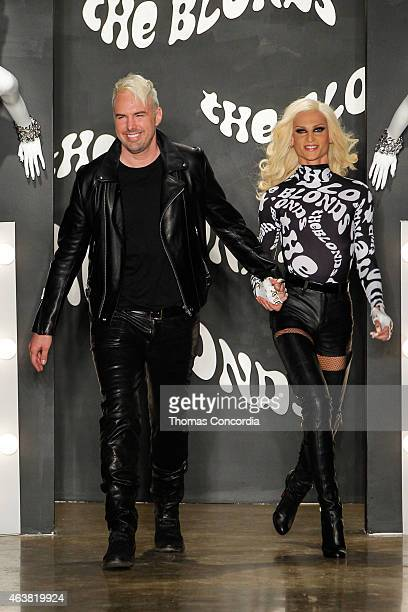 David and Phillipe Blond greet the audience after presenting The Blonds fashion show during MADE Fashion Week Fall 2015 at Milk Studios on February...