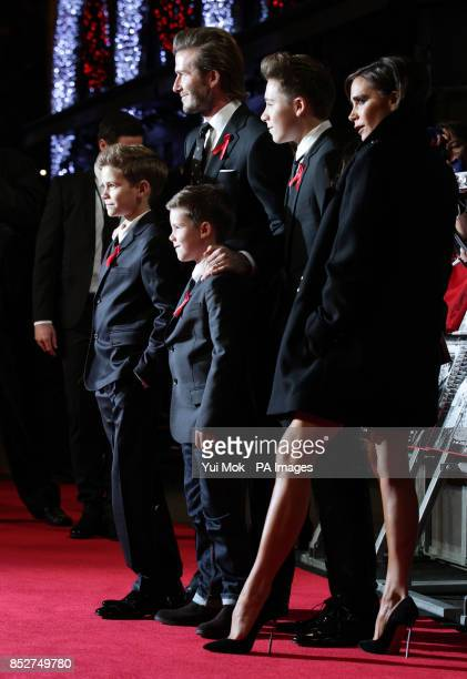 David and Victoria Beckham and their children Romeo Cruz and Brooklyn arriving for the World premiere of documentrary film The Class of 92 detailing...