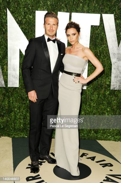 David and Victoria Beckham arrive at the 2012 Vanity Fair Oscar Party hosted by Graydon Carter at Sunset Tower on February 26 2012 in West Hollywood...