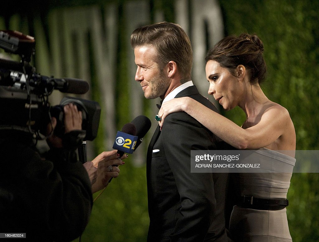 David and Victoria Beckham arrive to the Vanity Fair Oscar Party on the sidelines of the 84th Annual Academy Awards at the Sunset Tower on February 26, 2012 in West Hollywood, California.