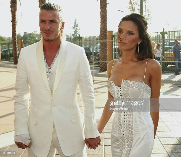 David and Victoria Beckham attend The 2003 MTV Movie Awards held at the Shrine Auditorium on May 31 2003 in Los Angeles California David Beckham and...