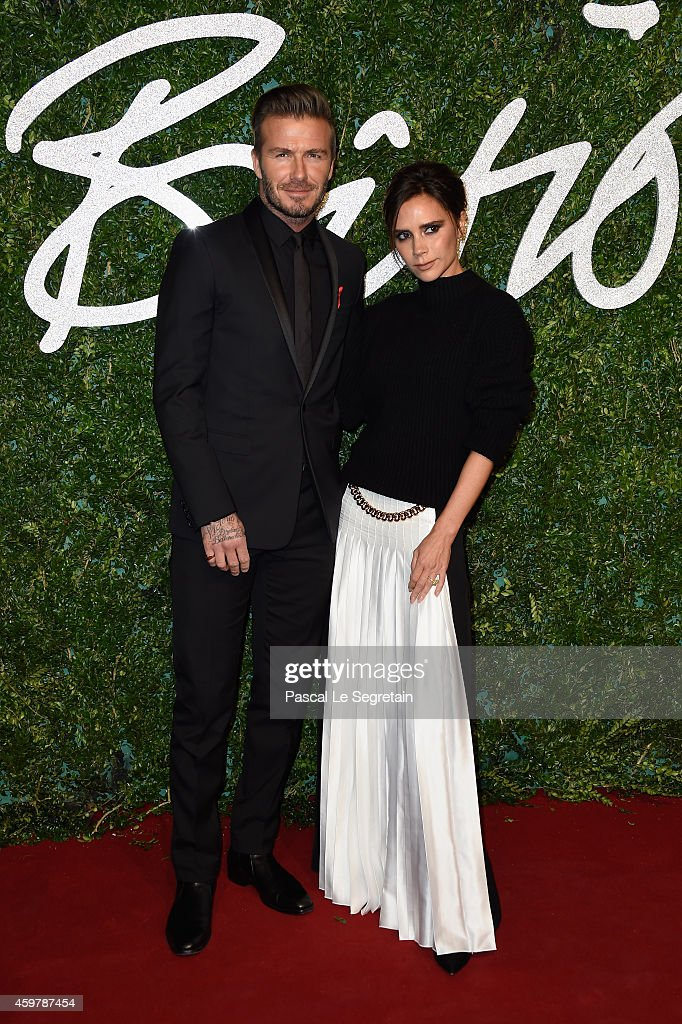 David and Victoria Beckham attend the British Fashion Awards at London Coliseum on December 1, 2014 in London, England.