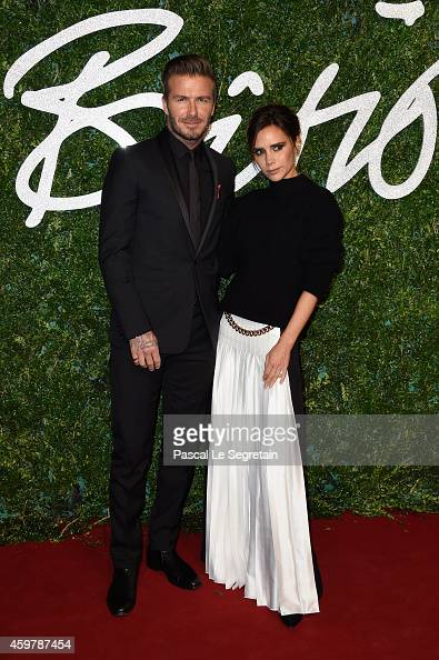 David and Victoria Beckham attend the British Fashion Awards at London Coliseum on December 1 2014 in London England