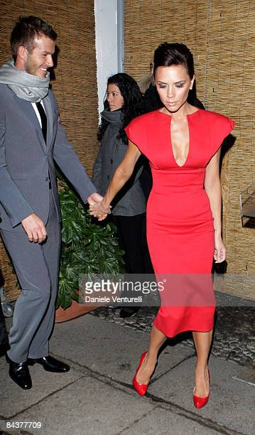 David and Victoria Beckham attend the 'My Sky HD Wears Fendi' cocktail party as part of Milan Fashion Week Autumn/Winter 2009/2010 Menswear on...