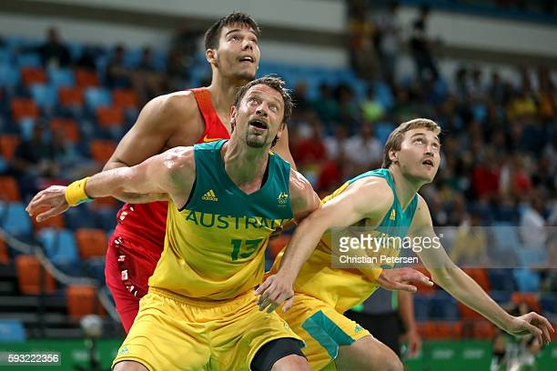 David Andersen of Australia in action during the Men's Basketball Bronze medal game between Australia and Spain on Day 16 of the Rio 2016 Olympic...