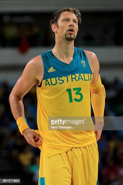 David Andersen of Australia looks on against Lithuania during the Men's Quarterfinal match on Day 12 of the Rio 2016 Olympic Games at Carioca Arena 1...