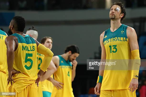 David Andersen of Australia shows his emotion after losing the Men's Basketball Bronze medal game between Australia and Spain on Day 16 of the Rio...