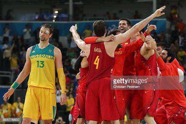 David Andersen of Australia shows his emotion against Team Spain celebrate winning the Men's Basketball Bronze medal game between Australia and Spain...