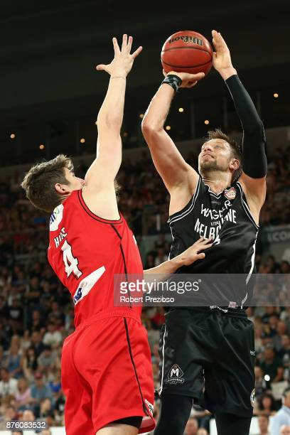 David Andersen of Melbourne drives to the basket during the round seven NBL match between Melbourne and Perth on November 19 2017 in Melbourne...