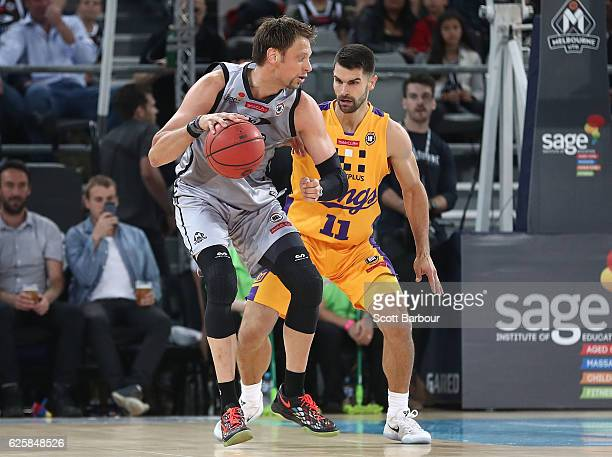 David Andersen of Melbourne United controls the ball during the round eight NBL match between Melbourne United and the Sydney Kings at Hisense Arena...