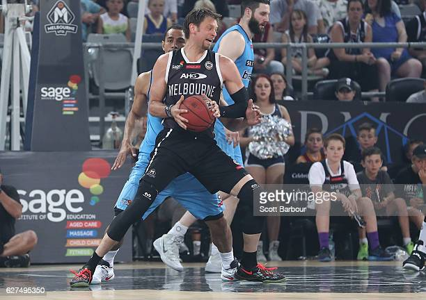 David Andersen of Melbourne United drives to the basket during the round nine NBL match between Melbourne United and New Zealand Breakers at Hisense...