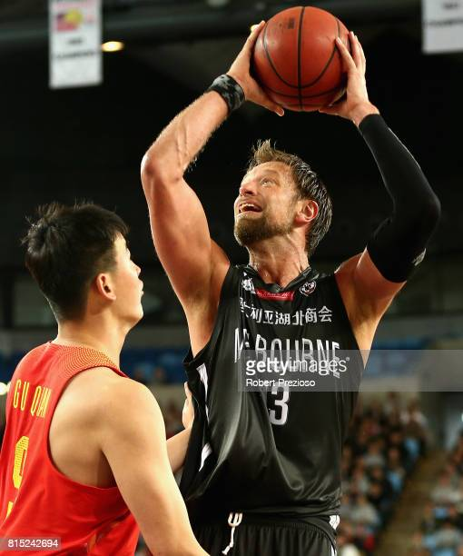 MELBOURNE AUSTRALIA JULY David Andersen of Melbourne United drives to the basket during the match between Melbourne United and China at Melbourne...