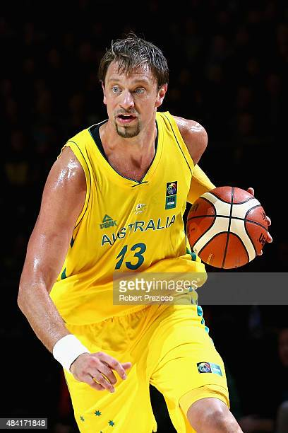 David Andersen of the Boomers drives to the basket during the game one match between the Australian Boomers and New Zealand Tall Blacks at Rod Laver...