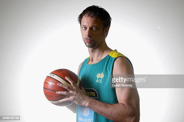 David Andersen poses Mission during the Australian Olympic Games Men's Basketball team announcement at Melbourne Sports and Aquatic Centre on July 11...