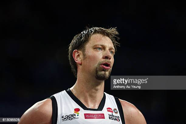 David Anderson of Melbourne looks on during the round one NBL match between the New Zealand Breakers and Melbourne United at Vector Arena on October...