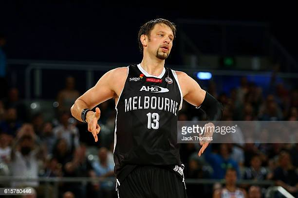David Anderson of Melbourne United celebrates a three pointer during the round three NBL match between Melbourne United and Brisbane Bullets at...
