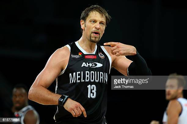David Anderson of Melbourne United reacts to a call during the round three NBL match between Melbourne United and Brisbane Bullets at Hisense Arena...