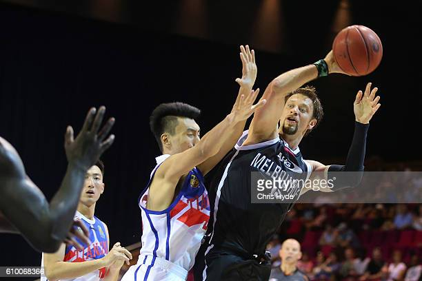 David Anderson of the United passes during the Australian Basketball Challenge match between Tianjin Ronggang Gold Lions and Melbourne United on...