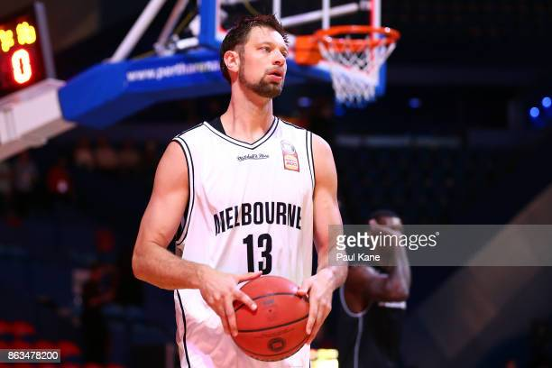 David Anderson of United looks on while warming up before the round three NBL match between the Perth Wildcats and Melbourne United at Perth Arena on...