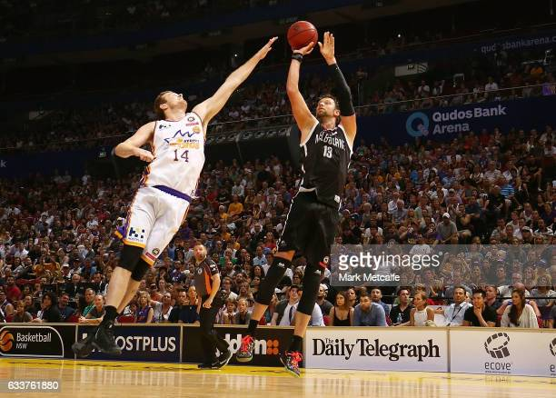 David Anderson of United shoots during the round 18 NBL match between the Sydney Kings and Melbourne United at Qudos Bank Arena on February 4 2017 in...