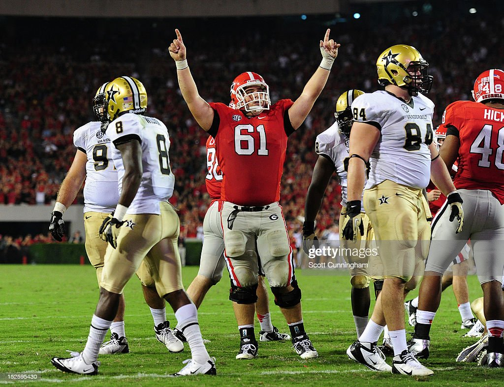 David Andrews #61 of the Georgia Bulldogs celebrates after a third quarter touchdown against the Vanderbilt Commodores at Sanford Stadium on September 22, 2012 in Athens, Georgia.