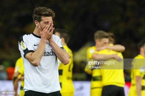 David Angel Abraham of Frankfurt looks dejected during the DFB Cup final match between Eintracht Frankfurt and Borussia Dortmund at Olympiastadion on...