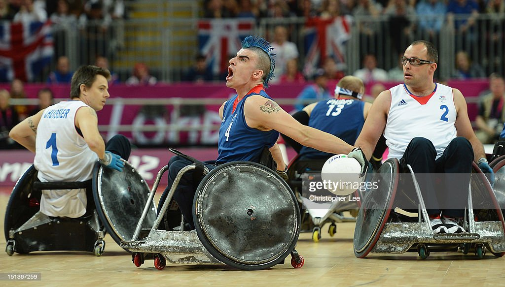 David Anthony of Great Britain celebrates winning a point during the Wheelchair Rugby Pool Phase Group A match between Great Britain and France on...