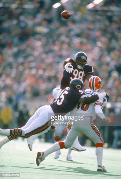 David Archer of the Atlanta Falcons get his pass off under pressure from Richard Dent and Tyrone Keys of the Chicago Bears during an NFL football...