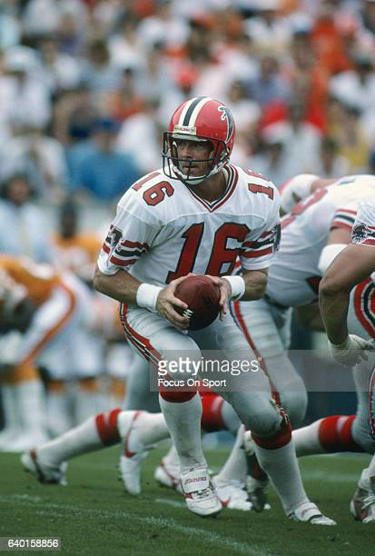 David Archer of the Atlanta Falcons in action against the Tampa Bay Buccaneers during an NFL football game September 13 1987 at Tampa Stadium in...
