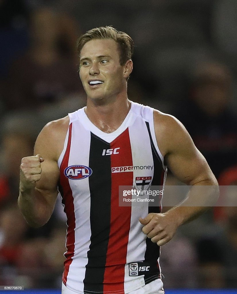 David Armitage of the Saints celebrates a goal during the round six AFL match between the Melbourne Demons and the St Kilda Saints at Etihad Stadium on April 30, 2016 in Melbourne, Australia.