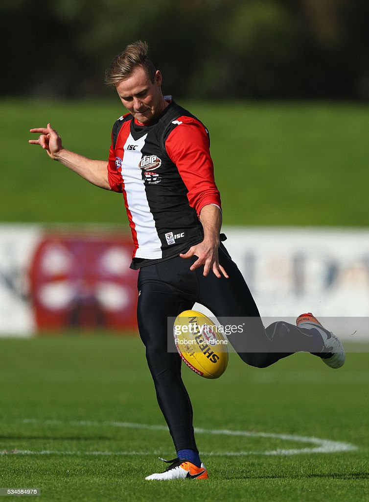 David Armitage of the Saints kicks the ball during a St Kilda Saints AFL training session at Moorabbin Oval on May 27, 2016 in Melbourne, Australia.