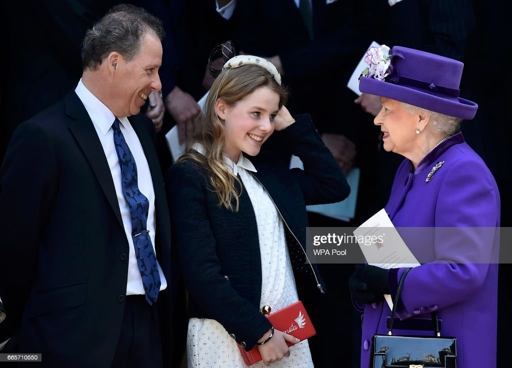 David Armstrong-Jones and Margarita Armstrong-Jones speak to Queen Elizabeth II as they leave a Service of Thanksgiving for the life and work of Lord Snowdon at Westminster Abbey on April 7, 2017 in London, United Kingdom.